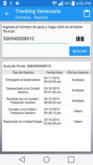 Android Tracking Venezuela Screen 2