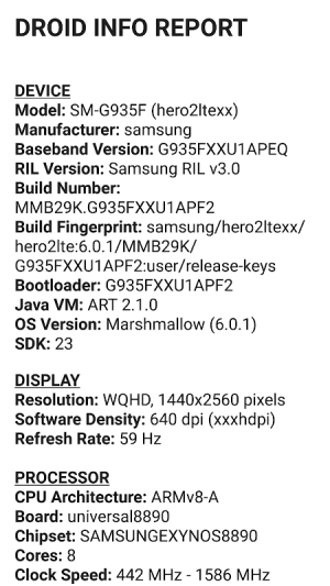 Droid Hardware Info 1.2.2 Screen 5