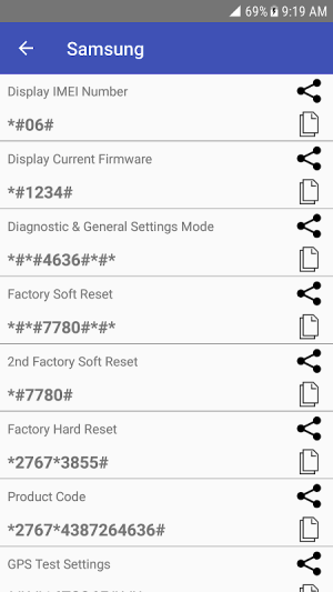 Mobile Secret Codes - MMI USSD 1.7.2 Screen 1