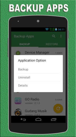 Android Backup Apps Screen 1