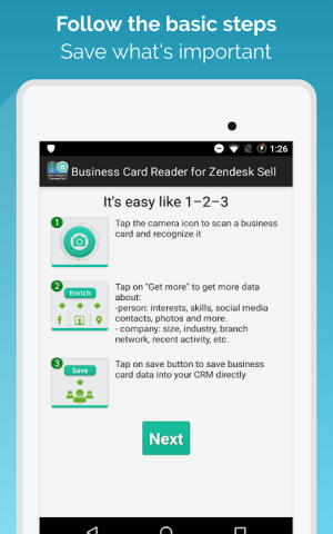 Android Business Card Reader for Zendesk Sell Screen 10