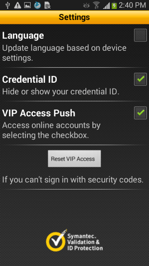 VIP Access 2.2.1 Screen 3
