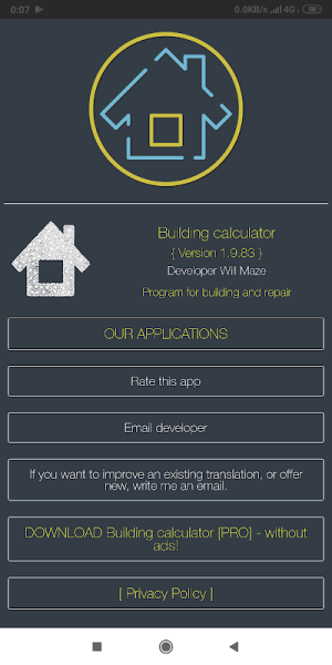 Building calculator 1.9.84 Screen 3