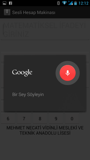Android Sesli Hesap Makinesi Screen 1