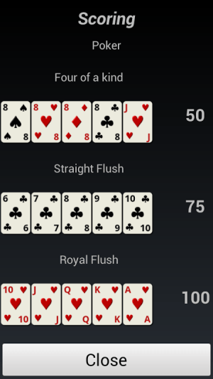 Android Poker Solitaire Screen 2