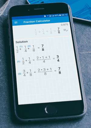 Fractions Calculator - detailed solution available 2.16c Screen 1