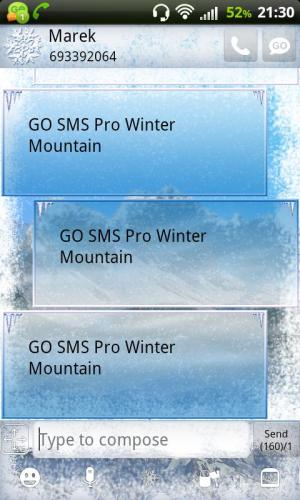 GO SMS Pro Winter Mountain 2.0 Screen 1