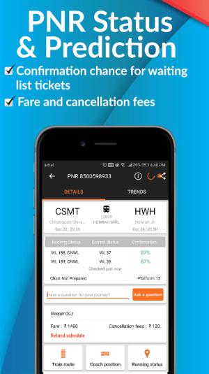 PNR Status, Train Running Status & Ticket Booking 8.14.2.0 Screen 1