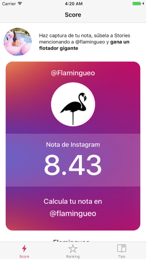 Score for Instagram 1.0.2 Screen 1
