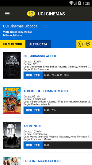 Android UCI CINEMAS ITALIA Screen 1
