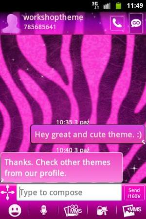 Android GO SMS Pro Theme Pink Zebra Screen 1