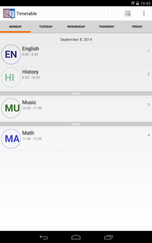 Android Timetable Screen 2