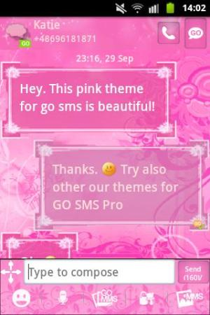 Android Pink Flowers Theme GO SMS Pro Screen 1