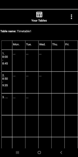 Android NewTimetableNotes - Notes in Tables + Timetable. Screen 10
