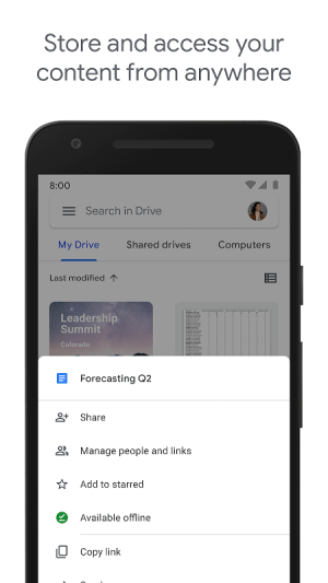 Android Google Drive Screen 1