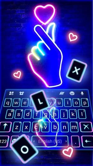 Love Heart Neon Keyboard Background 4.0.A Screen 2