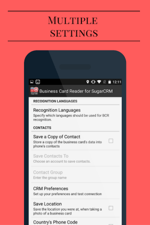 Android Business Card Reader for Sugar CRM Screen 14