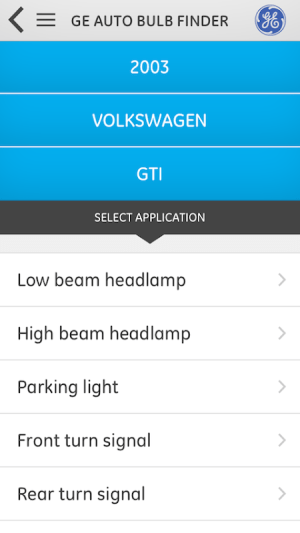 GE Auto Bulb Finder 1.0.0 Screen 1