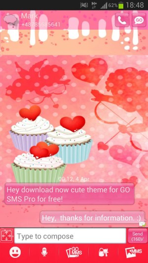 Android GO SMS Pro Theme cupcake heart Screen 1