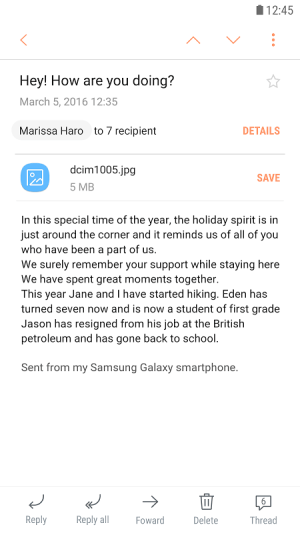 Samsung Email 4.1.89.0 Screen 2