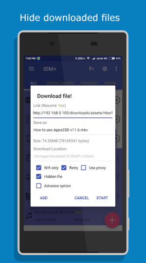 Android IDM+: Fastest Music, Video, Torrent Downloader Screen 14