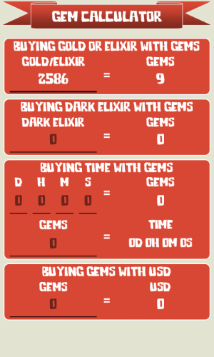 Android 🏰 Gem Calculator for Clash of Clans Screen 1