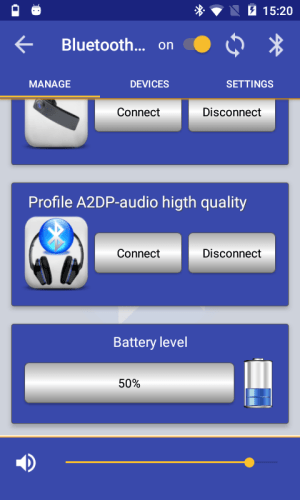 Android Bluetooth Audio Widget Battery FREE Screen 1