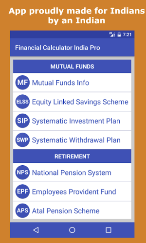 Android Financial Calculator India Screen 1
