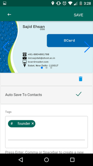 Android BCard Business Card Reader Screen 3