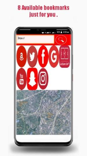Android RedHat- Fast  search engine Web browser + Map Screen 3