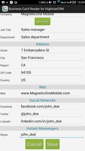Business Card Reader for Highrise CRM 1.1.145c Screen 5