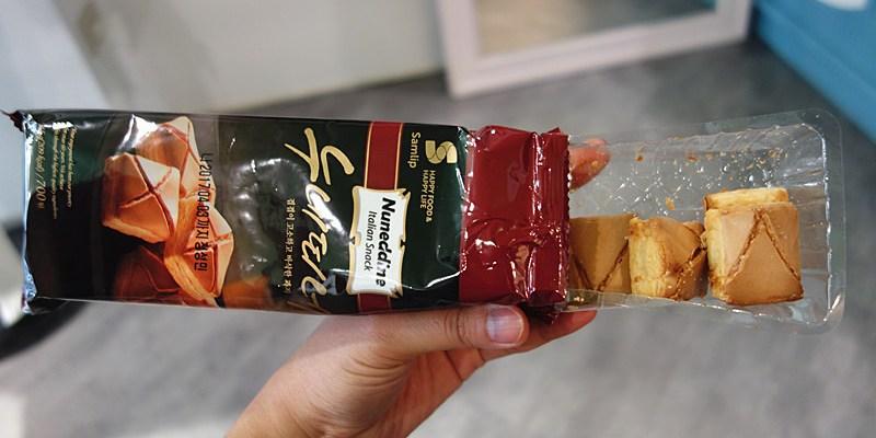 【韓國零食】韓國樂天Samlip SPC【義式焦糖奶油千層一口酥】(45g/包)。