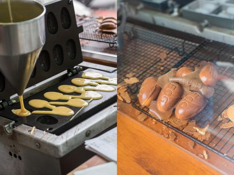 審計新村魚刺人雞蛋糕 | 台中超夯偉士牌雞蛋糕,巧遇魚刺人,深色雞蛋糕香氣濃郁。