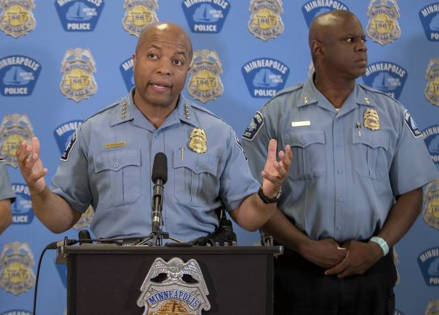 Minneapolis police chief Medaria Arradondo addresses the media.