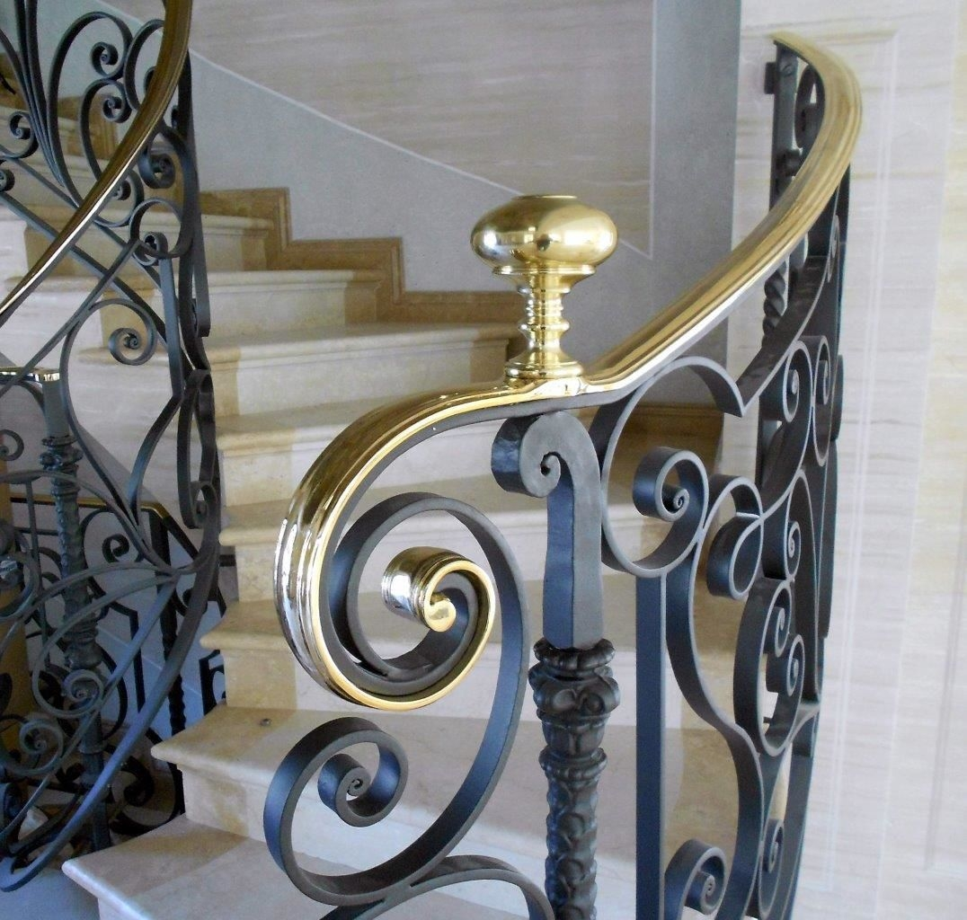 Wrought Iron Railing Provance Tessaro Group With Bars   Wrought Iron Handrail For Steps   3 Step   Grill   Forged Iron   Cast Iron   Wood Wall Mounted Stair
