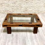 Contemporary Coffee Table Taucen39 Arrelart Exotic Wood Glass Rectangular