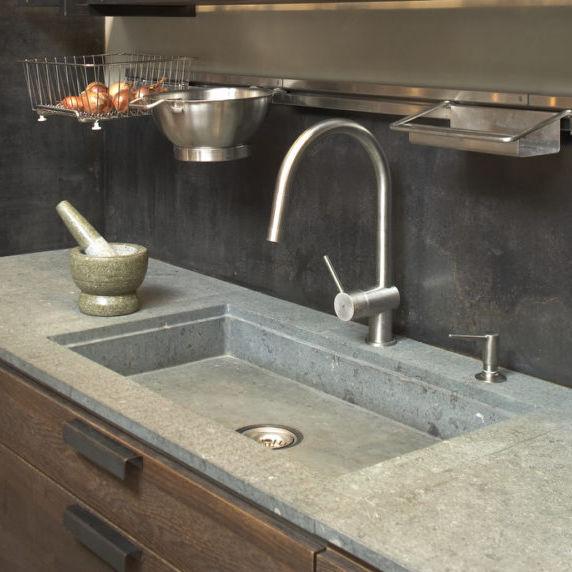 single bowl kitchen sink en pierre d