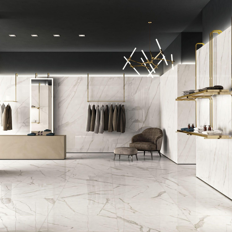 indoor tile trilogy calacatta white