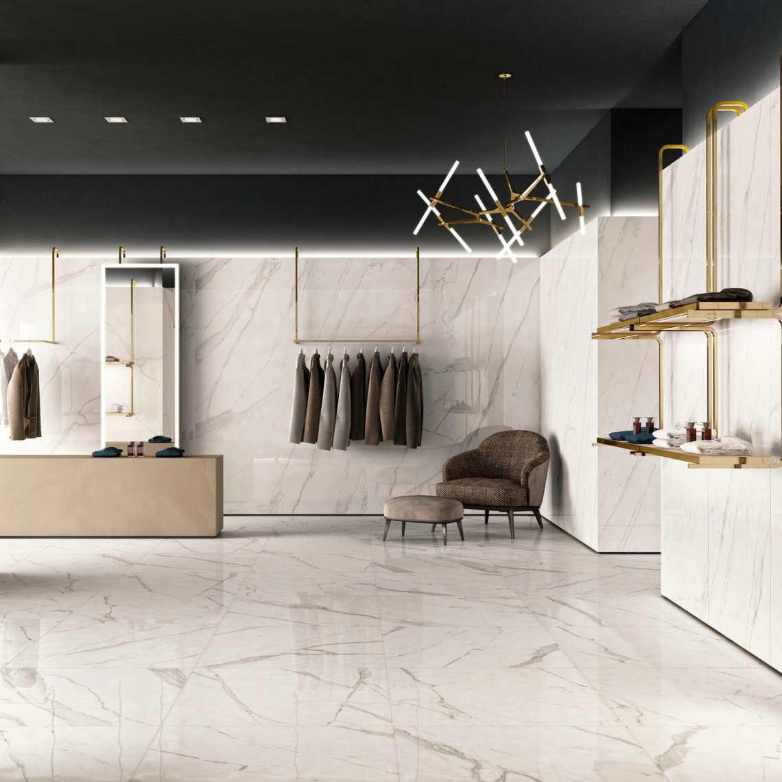 Indoor tile - TRILOGY : CALACATTA WHITE - Panaria Ceramica - wall ...