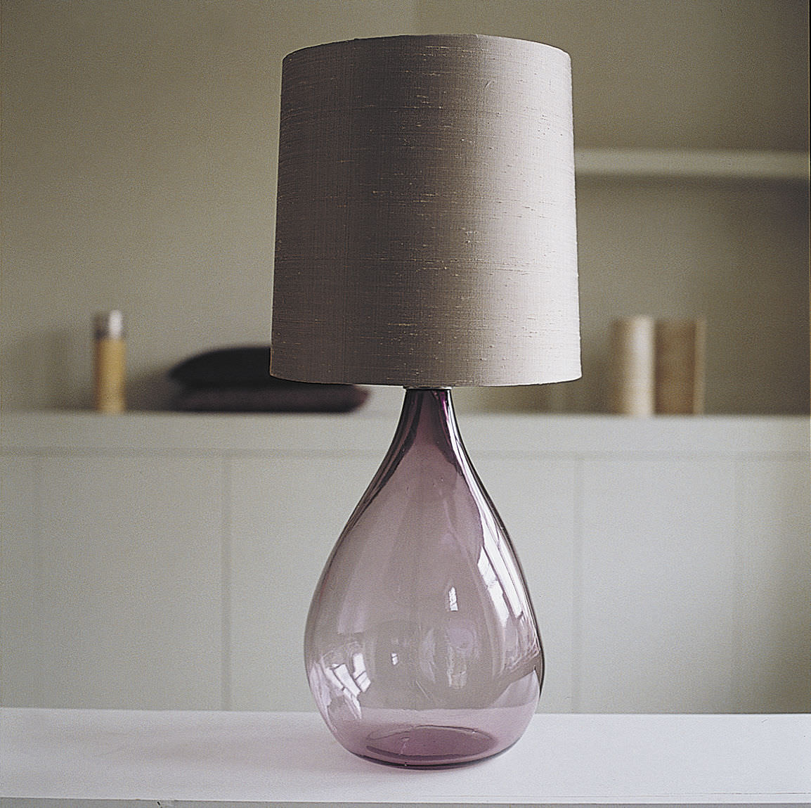 Table Lamp Cherub Ochre Contemporary Nickel Blown Glass