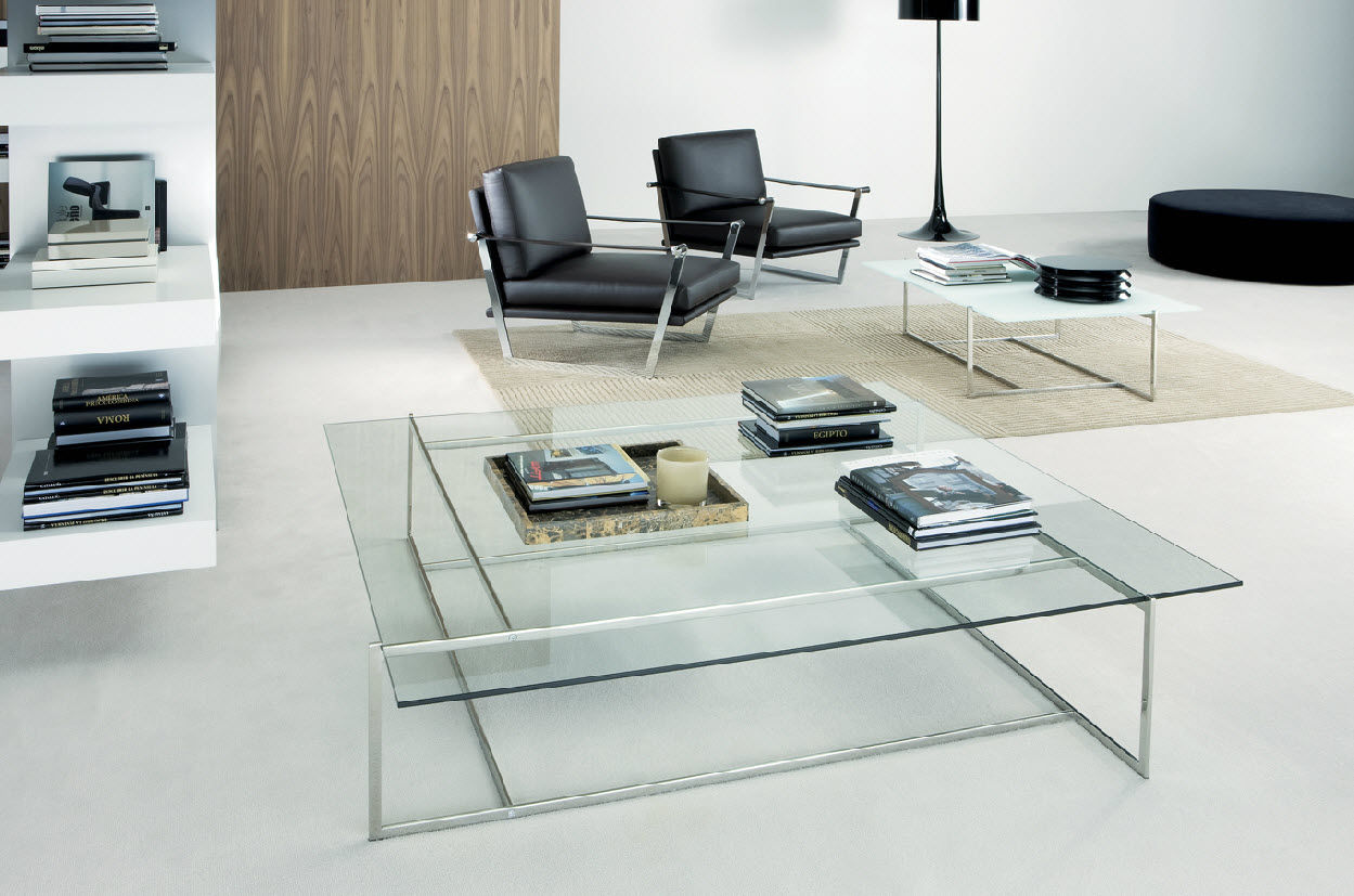 Contemporary Coffee Table C Casadesus Glass Stainless Steel Square