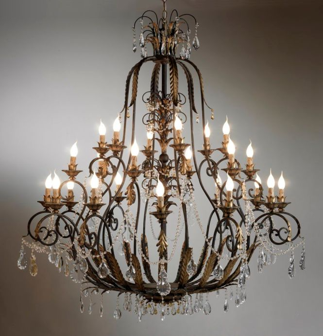 Classic Chandelier Crystal Wrought Iron Incandescent Bell 01900s Marioni