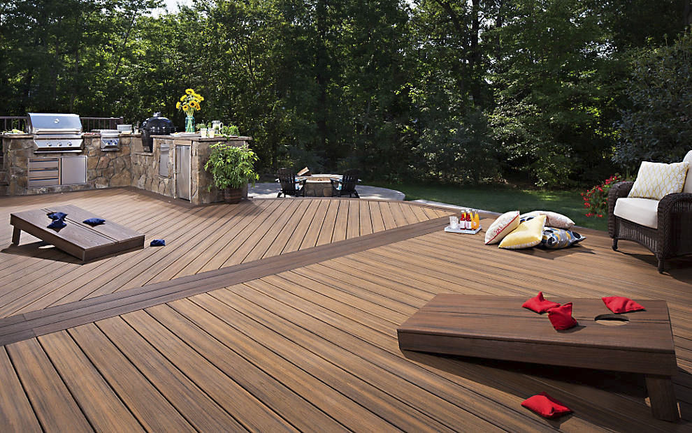 Wpc Deck Boards Wood Look Recycled Transcend Havana Gold Trex Inc