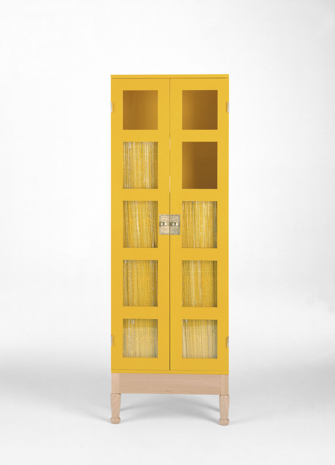 Contemporary Bookcase Wooden Glass Front