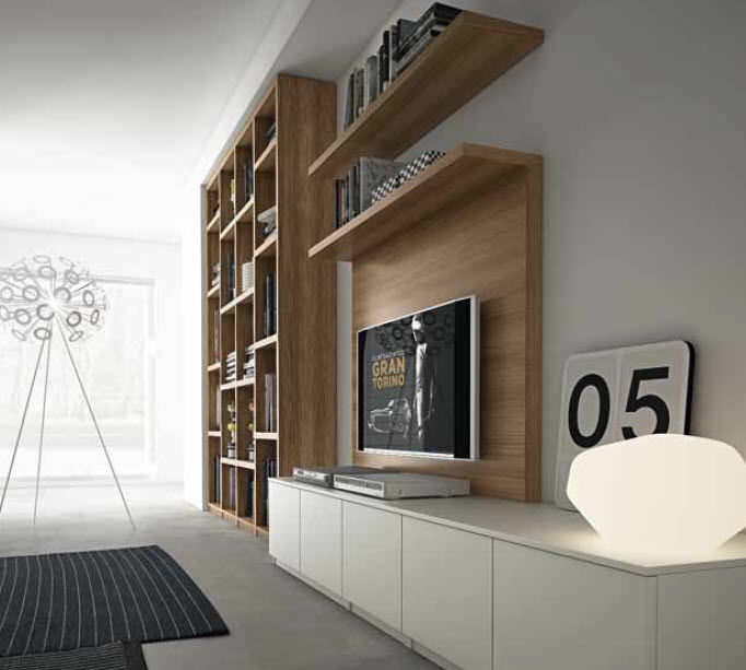contemporary tv wall unit composition