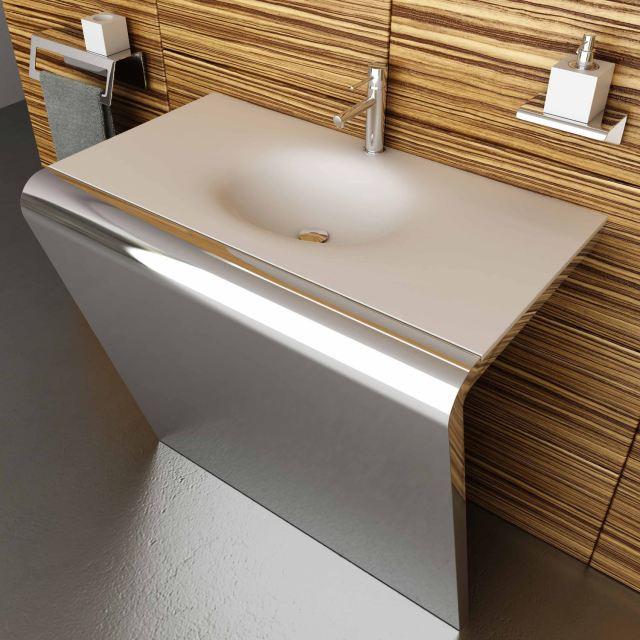 Countertop washbasin rectangular Corian stainless steel