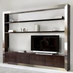 Contemporary Tv Wall Unit Tv 846ac Artesmoble Walnut Beech Stainless Steel