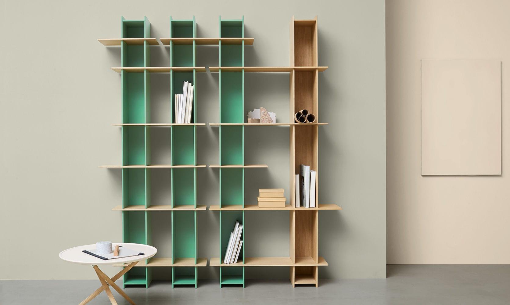 Modular Bookcase Contemporary Oak Wood Veneer Joint