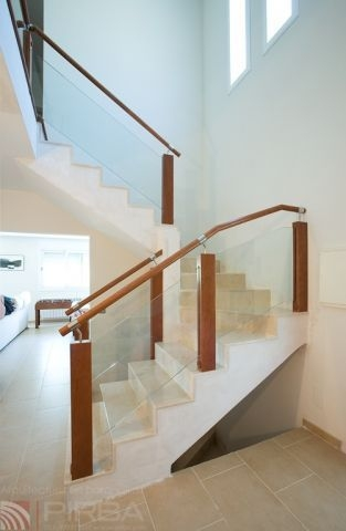 Wooden Railing Md Blong 1 Pirba Glass Panel Indoor For   Staircase Handrails With Wood And Glass   Tempered Glass   Glass Panel   Wooden   Glass Printing   Solid Wood
