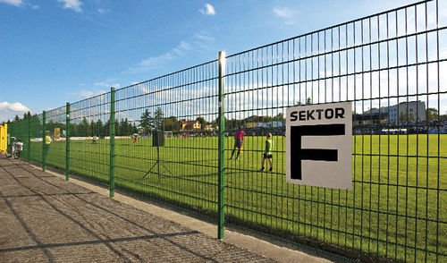 Athletic field fence / entrance with bars / wire mesh / steel VEGA B & VEGA 2D WISNIOWSKI